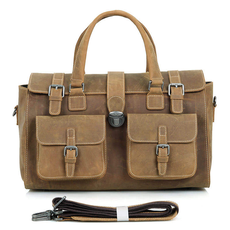 Large Capacity Men Hand Luggage Travel Duffle Bags Real Leather 2018 Weekend Shoulder Bags Multifunctional Overnight Duffel Bag