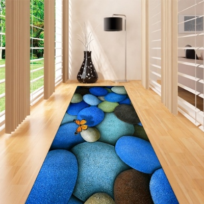 Else Blue Black Stones On Orange Butterfly 3d Print Non Slip Microfiber Washable Long Runner Mat Floor Mat Rugs Hallway Carpets