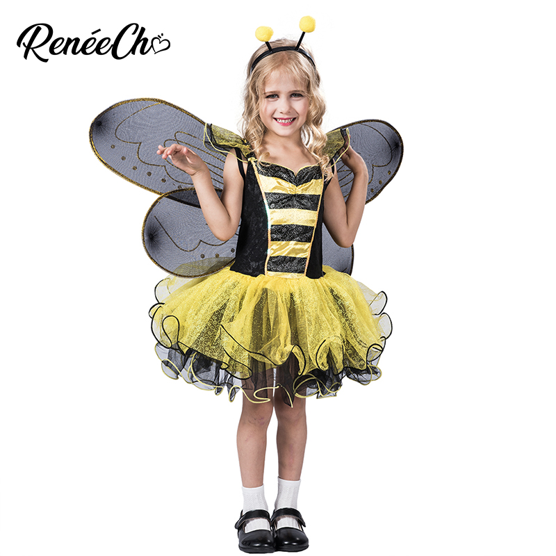 Halloween Costume For Kids Yellow Dress For Carnival Party Cosplay Girls Bumble Bee Costume Dress Wings And Headband Full Set
