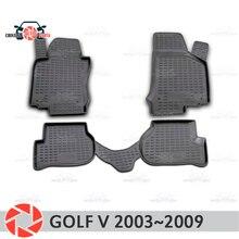 Коврики для Volkswagen Гольф 5 2003 ~ 2009 ковры Нескользящие полиуретановые грязи защиты интерьер автомобиля средства укладки волос