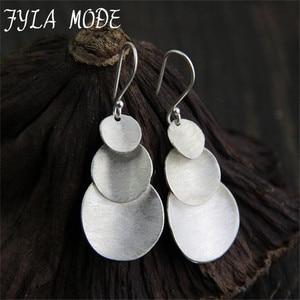 Hot Sale 925 Thai Silver Women Drop Earrings 3 Round Charms Dangle Earring Fashion Trend Ear Drop Gift for Women 33*20MM 8.50G