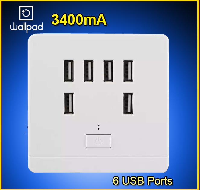 High quality USB Wall Socket AC 110-250V US UK EU AU Wall Socket 3400mA 6 Port 5.0V USB Outlet Power Charger for CellphoneHigh quality USB Wall Socket AC 110-250V US UK EU AU Wall Socket 3400mA 6 Port 5.0V USB Outlet Power Charger for Cellphone