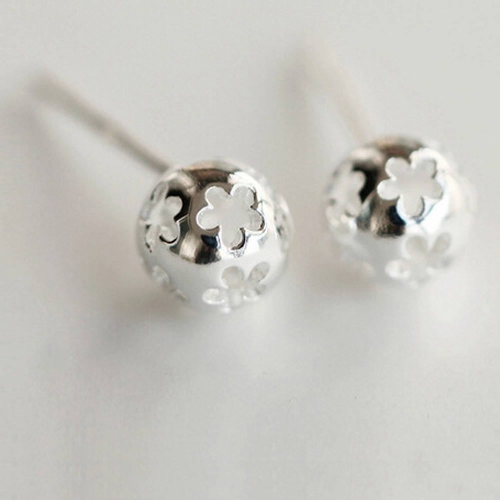 New Silver Plate Hollow Flower Ball Stud Earring For Women