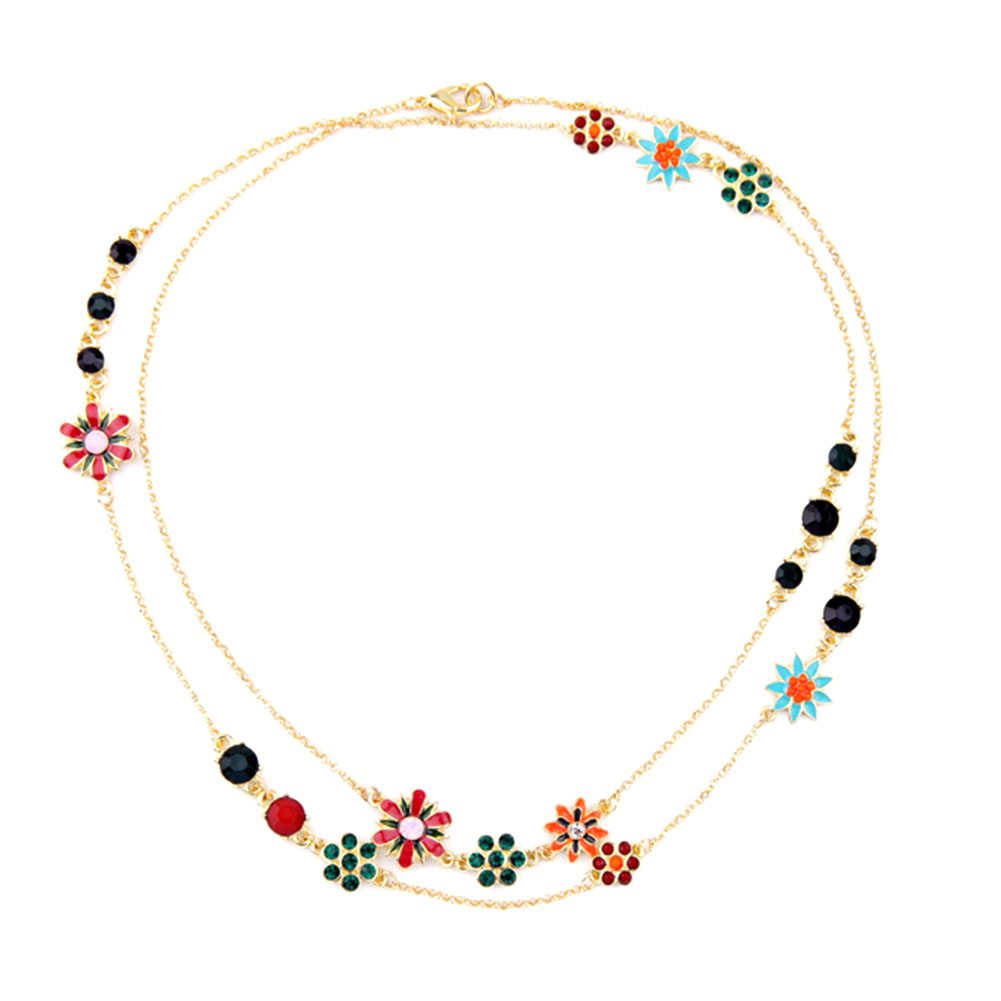 Brilliant Jewelry Bohemia Style Necklace Enamel Flower Koren Girls Lovely Zinc Alloy Long Necklaces Gold Color