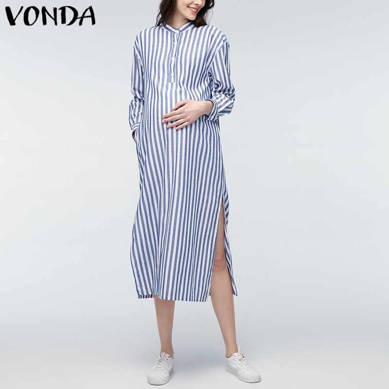 87ef55cd6defc8b ... VONDA для беременных Одежда 2018 летнее Полосатое Платье с принтом для  беременных Для женщин с длинным ...