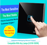 1 Gang 1 Way Black DIY Touch Light Wall Switch Customize Words RFFOX 12V Micro Switch