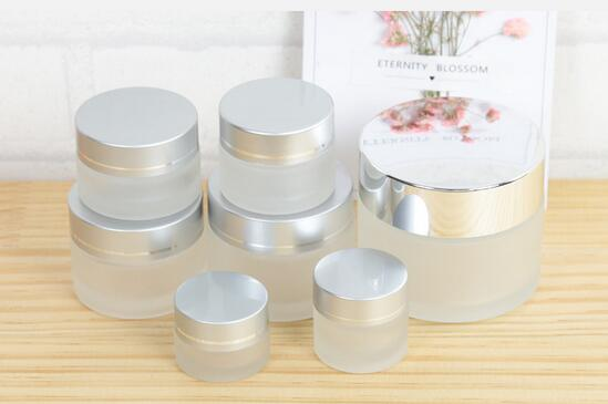 50g 30g 20g 15g 10g 5g Frost Glass Cream Jar with silver gold black lids 1oz Glass Container 1/3oz Cosmetic Packaging#3