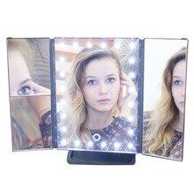 Настольное зеркало для макияжа с подсветкой раскладное, сенсорный экран, 24 LED лампы, uLike GESS