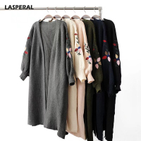 LASPERAL Winter 2017 Womens Sweaters Embroidered Floral Long Cardigans Women Cardigan Lantern Sleeve Open Stich Knitting