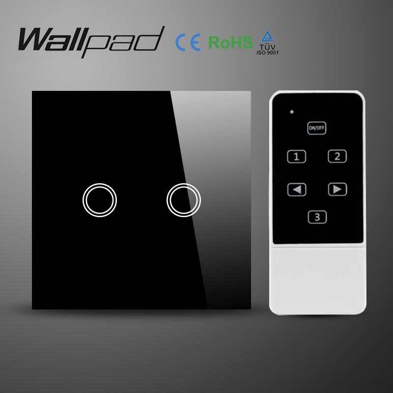 Wallpad UK EU Black Glass Panel Electrical Light Switch with Remote Control, 2 Gang Tactile Wall Switches 2 Way  Free Shiping 3gang1way uk wall light switches ac110v 250v touch remote switch
