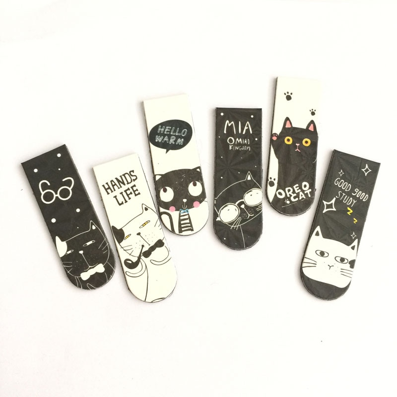 E04 6pcs /Set Kawaii Magnetic Bookmarks Books Marker Oreo Cat Cactus Kitty Stationery School Office Supply Paper Clip