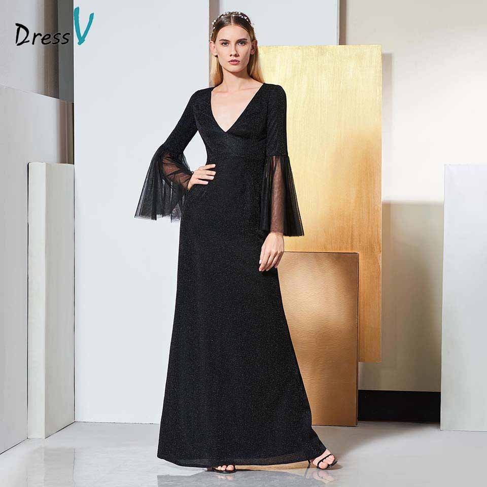 Dressv Black Elegant Long Sleeves Evening Dress A Line Zipper Up Floor Length Wedding Party Formal Dress Button Evening Dresses