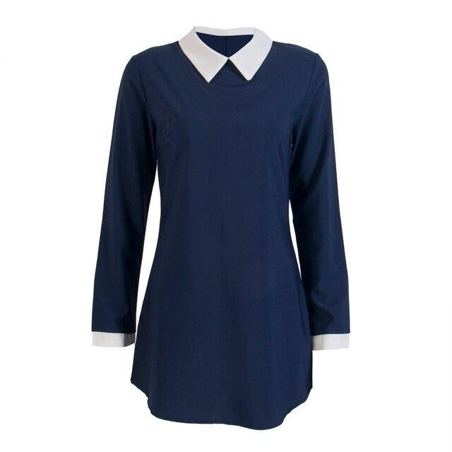 f785433285 School Preppy Style White Collar Short Sleeve Summer Mini Dresses Summer  Cute Peter Pan Collar Ladies Office Vestidos