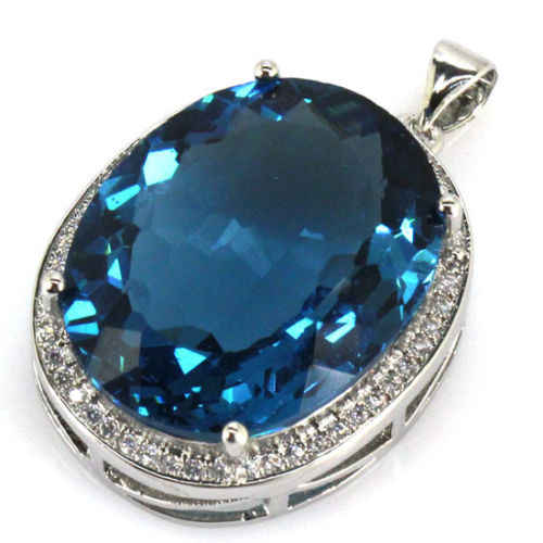 SheCrown Top AAA+ 22x18mm London Blue Topaz Gift For Girls Silver Pendant 25x20mm