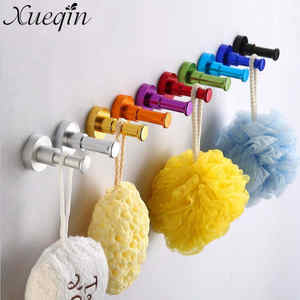 Xueqin Wall Mounted Aluminum Finish Candy Color Clothes Hanger Towel Coat Robe Hook Decorative Bathroom Hooks Towel Racks