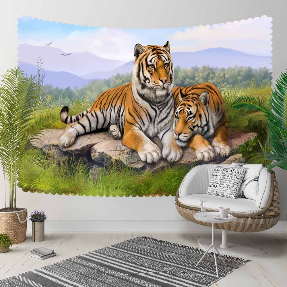 Else Wild Tigers Animals Green Grass Floral Nature 3D Print Decorative Hippi Bohemian Wall Hanging Landscape Tapestry Wall Art