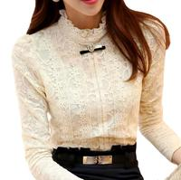New women lace blouse shirts autumn and winter Plus thick velvet warm Bottoming shirt Blusas Plus size 5XL s980