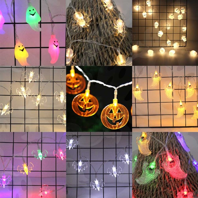led halloween decor pumpkinsghostspiderskull led string lights lanterns lamp for