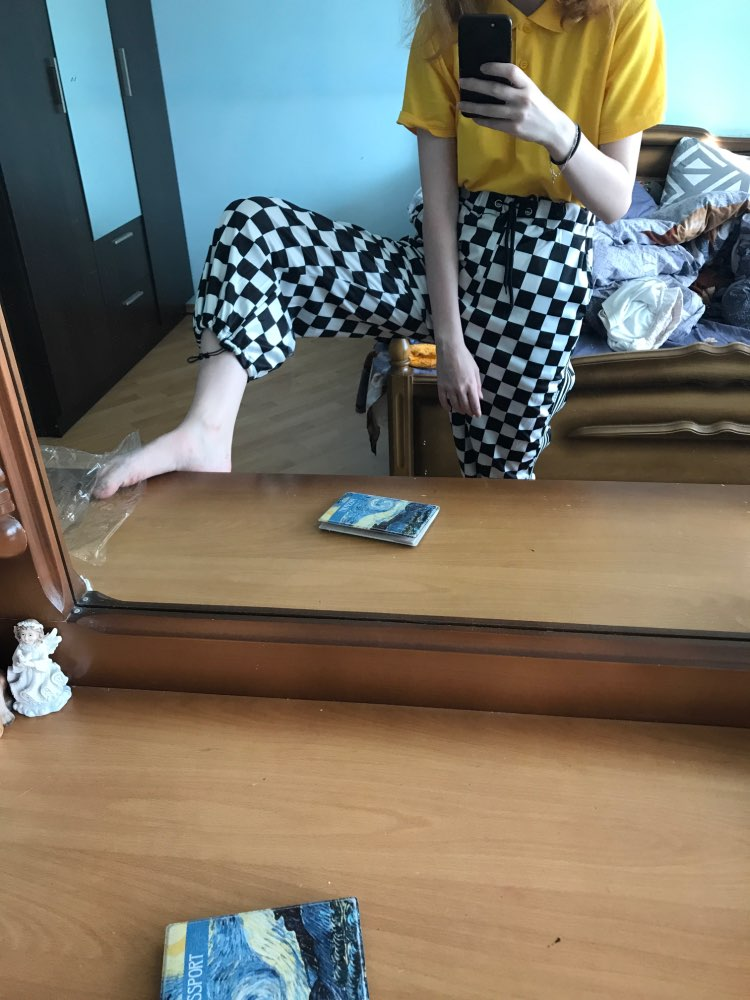 Women'S Harajuku Small Square Tie With Stripes On Both Sides Of Vertical Stripes Wide Leg Pants Casual Button For Women photo review