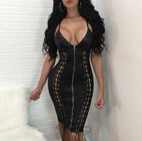 Night Club Lace up Women Dress PU Leather V Neck Bandage Backless Strappy Halter Dresses Women Clothes XL Pink Black Nude FZ 21