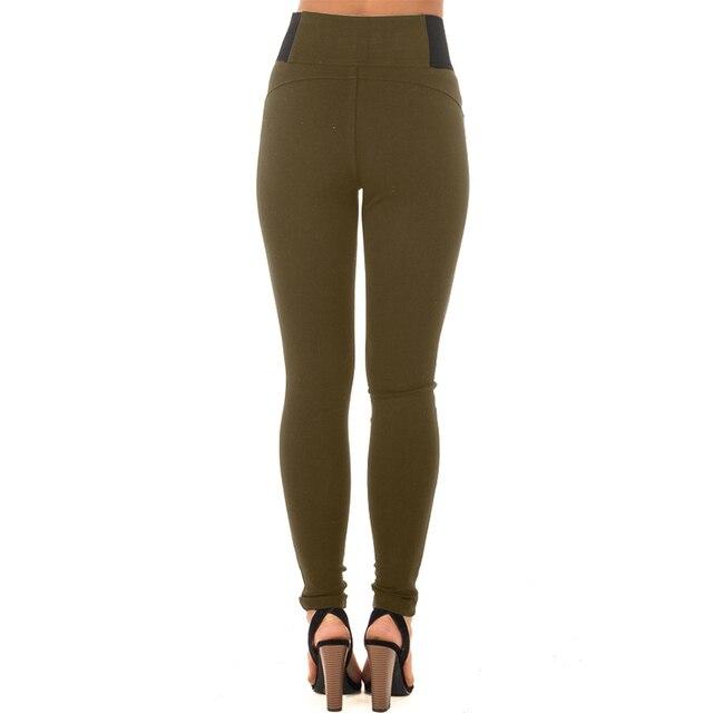 High Elastic Waist Casual Strech Skinny Basic Pant 4