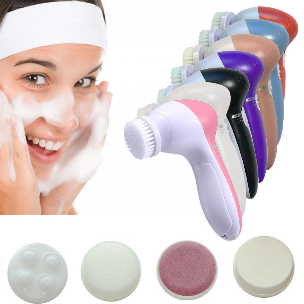 Electric Spin Brush SPA 5 IN 1 Facial Cleaning Brushes Black Dots Removal Cleanser Machine Washing Brush Apparatus for Skin CareElectric Spin Brush SPA 5 IN 1 Facial Cleaning Brushes Black Dots Removal Cleanser Machine Washing Brush Apparatus for Skin Care