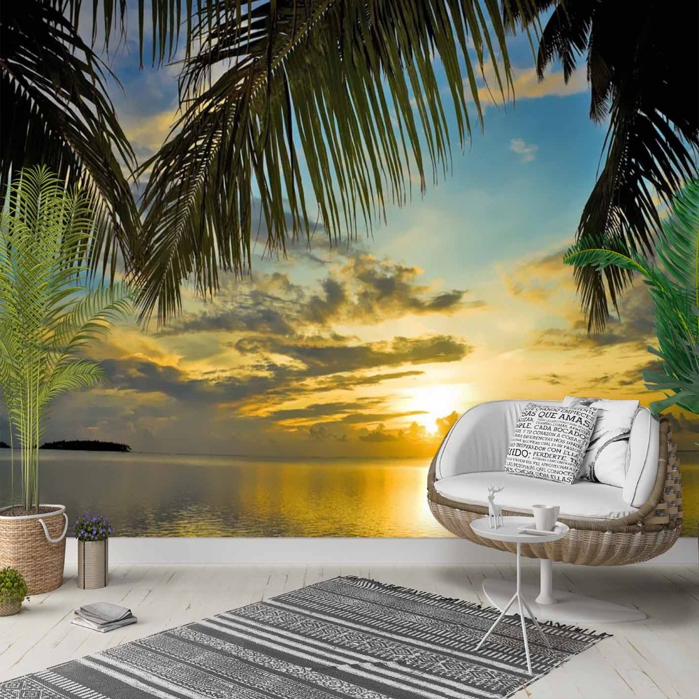 Else Tropical Palm Trees Yellow Sky Sea Side 3d Photo Cleanable Fabric Mural Home Decor Living Room Bedroom Background Wallpaper