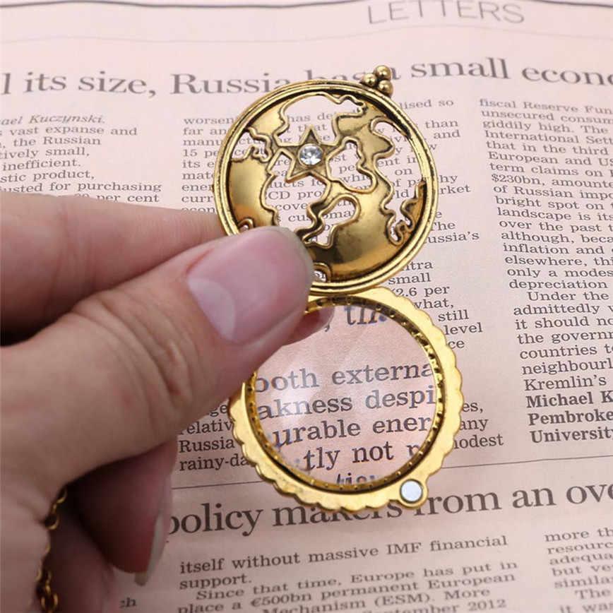 ZheFanku Retro แผนที่ Shocking แสดงแว่นขยายจี้สร้อยคอขยายแก้ว Reed ตกแต่ง Monocle สร้อยคอสีทอง