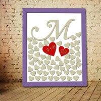 Custom Wedding Signature Heart Drop Box Drop Top Wedding Decoration Alternative Guest Book Surname First Letter Red Heart