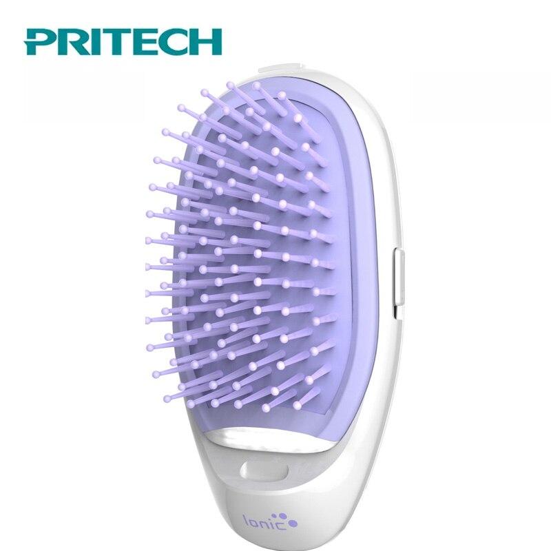 Pritech Mini peine del pelo masaje cepillo eléctrico de pelo Potable iónica peine para el cabello tomar Anti-estática de pelo de las niñas cepillo