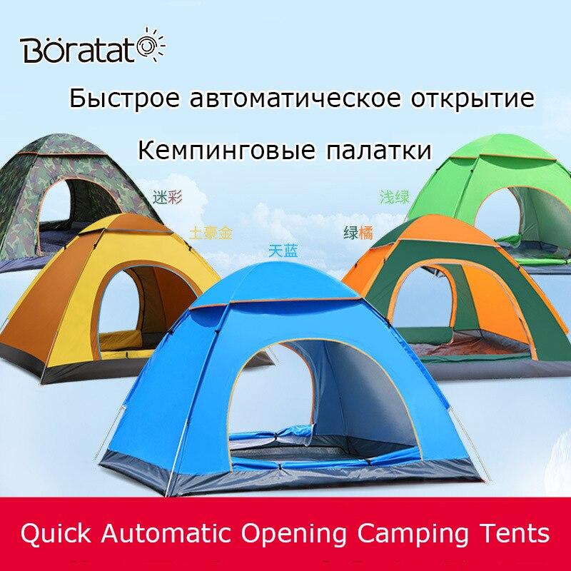 Tente de Camping Ultra légère tourisme de plein air ouverture automatique rapide tente quatre saisons automatique pour 4 personnes