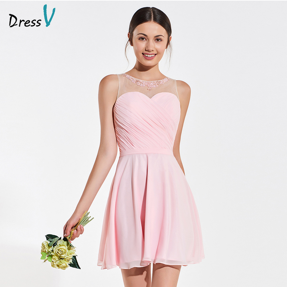 Dressv elegant scoop neck beading sequins   bridesmaid     dress   sleeveless a line wedding party women mini   bridesmaid     dress