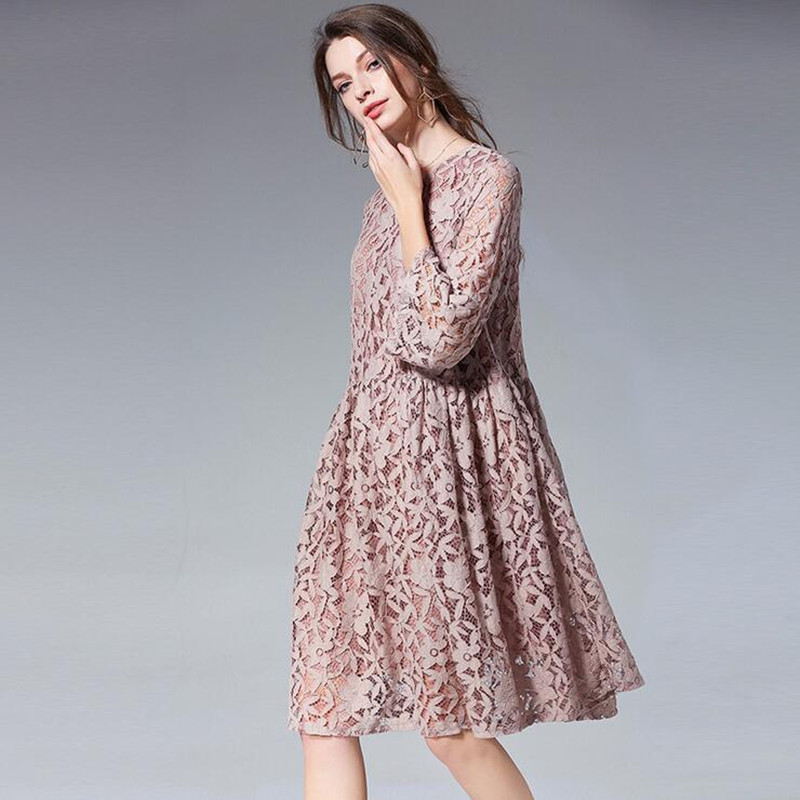 spring summer Lace Dress Work Casual Slim Fashion O-neck Sexy Hollow Out plus size Dresses Women A-line Vintage Vestidos L-4XL женское платье dresses dress women 2015 printsleeveless o summer style women dress