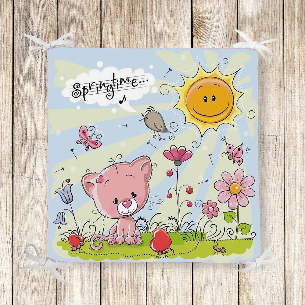 Else Pink Baby Cat Spring Flowers 3d Print Chair Pad Seat Cushion Soft Memory Foam Full Lenght Ties Non Slip Washable Square