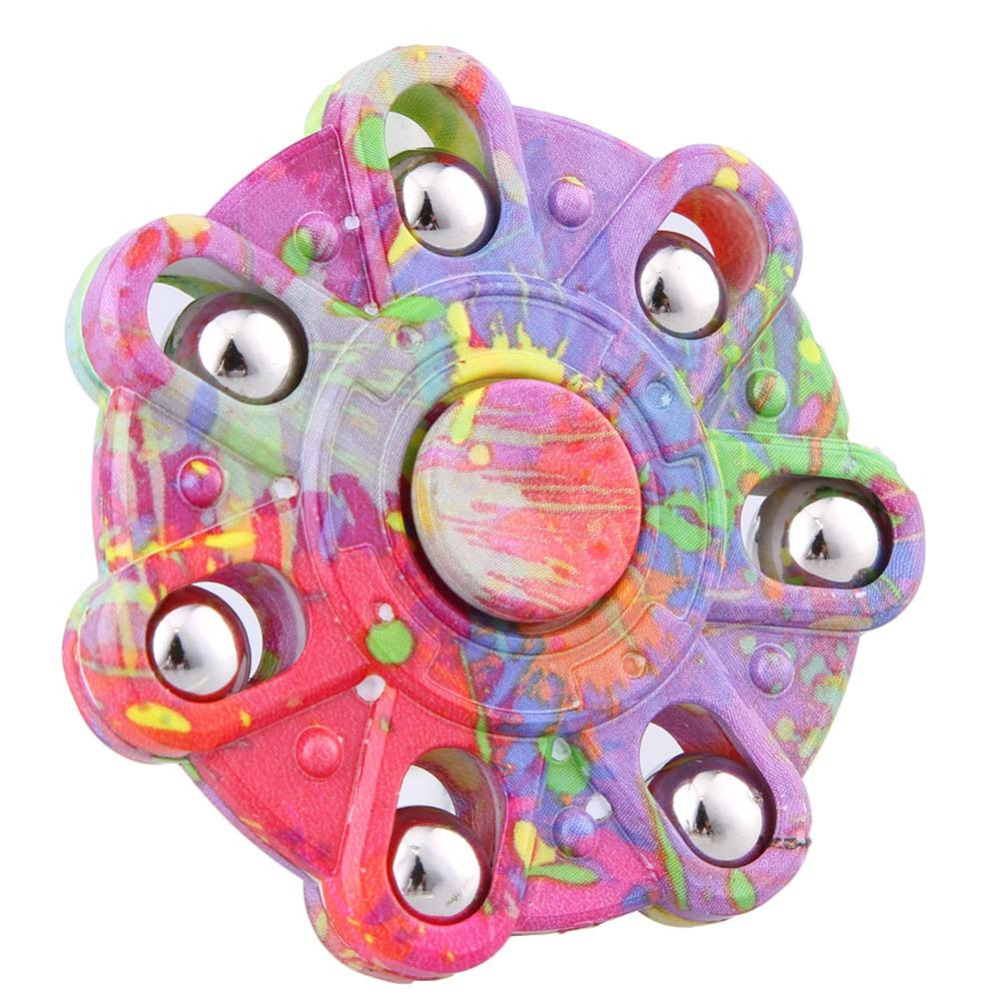 Camouflage Hand Spinner Seven Flap Plastic Iron Fidget Spinner Steel Bearing For Autism ADHD Anxiety Stress Toy