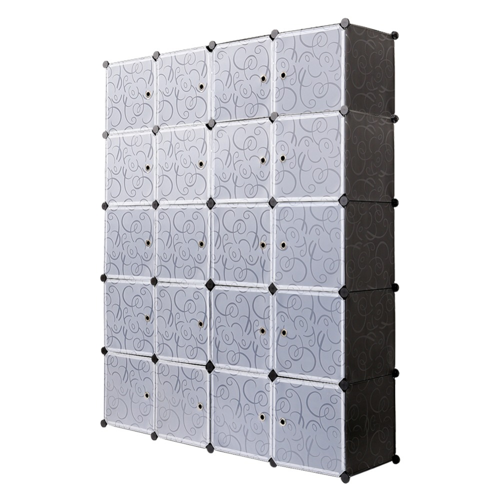 Plastic Wardrobe 20 Cube Interlocking Cabinet Storage for clothes Translucent Decorative Patterns Elegant Black White S15