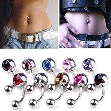 Hot Sale 12 Colors Rhinestones Peice Anti Allergy Simple Lounger Titanium Belly Button Rings Navel Piercing Ombligo