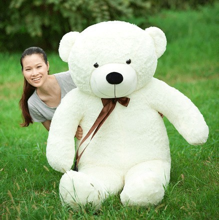 Free Shipping 160CM big giant teddy bear soft toy White animals plush stuffed toys life size kid dolls girls toy gift 2016 fancytrader big giant plush bear 160cm soft cotton stuffed teddy bears toys best gifts for children