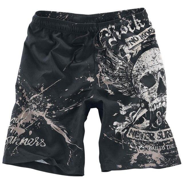 Summer Male Skull Print Sandblasting Short Pants Fashion Men's Casual Sportwear Beach Shorts Man