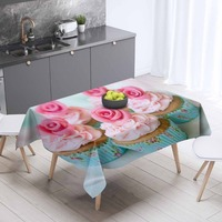 Else Blue Floor Pink Rose Cup Cake Sweet 3d Print Pattern Washable Dustproof Thicken Cotton Cloth Rectangular Square Tablecloth