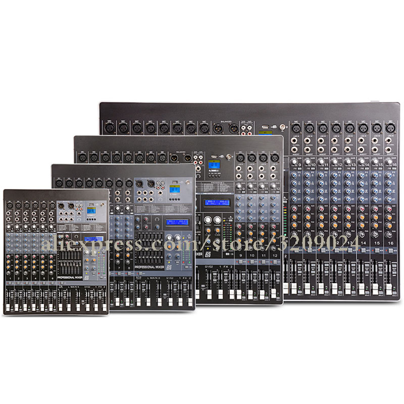 6 8 12 16 24 Channel Mixer Dual Effect Digital Reverb Group Output Dual 7-band Equalizer USB KTV Karaoke Stage Mic Mixer System