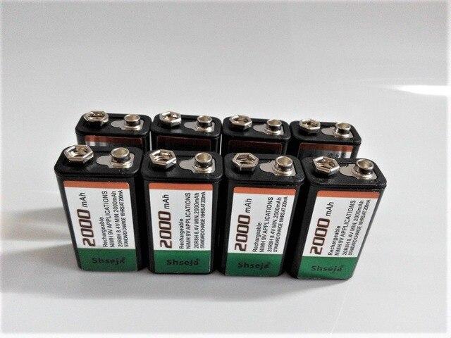 Большая емкость SHSEJA 2000 В мАч 9 в перезаряжаемая батарея 9 вольт Ni-MH батарея для микрофона Бесплатная доставка