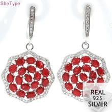 SheType 7.7g Real Red Ruby White CZ Mother'sDay Gift 925 Solid Sterling Silver Earrings 44x21mm