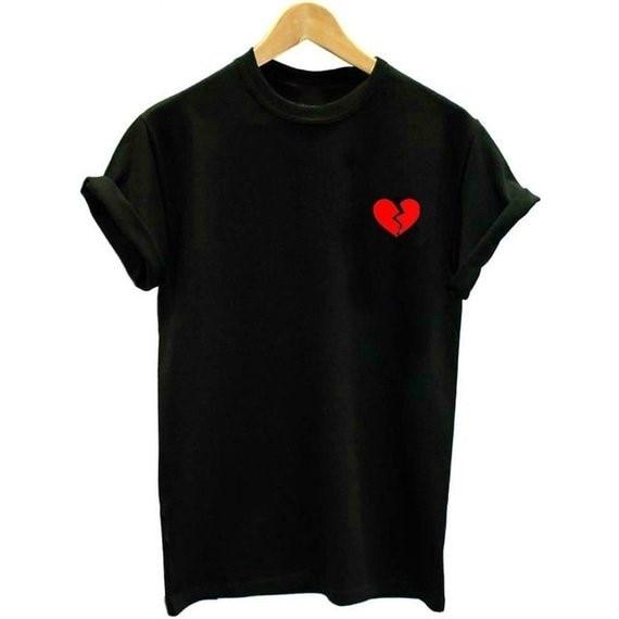 b12a553303 Skuggnas Broken Heart Pocket Tees Tumblr Aesthetic T shirt Summer Casual  Tops Tee Tumblr Clothing Aesthetic Clothes Cute Tops