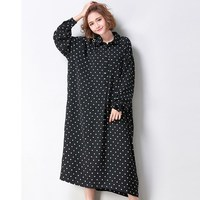 New Autumn ZANZEA Women Dresses Polka Dot Shirt Dress Baggy Vintage Vestidos Long Sleeve Turn Down