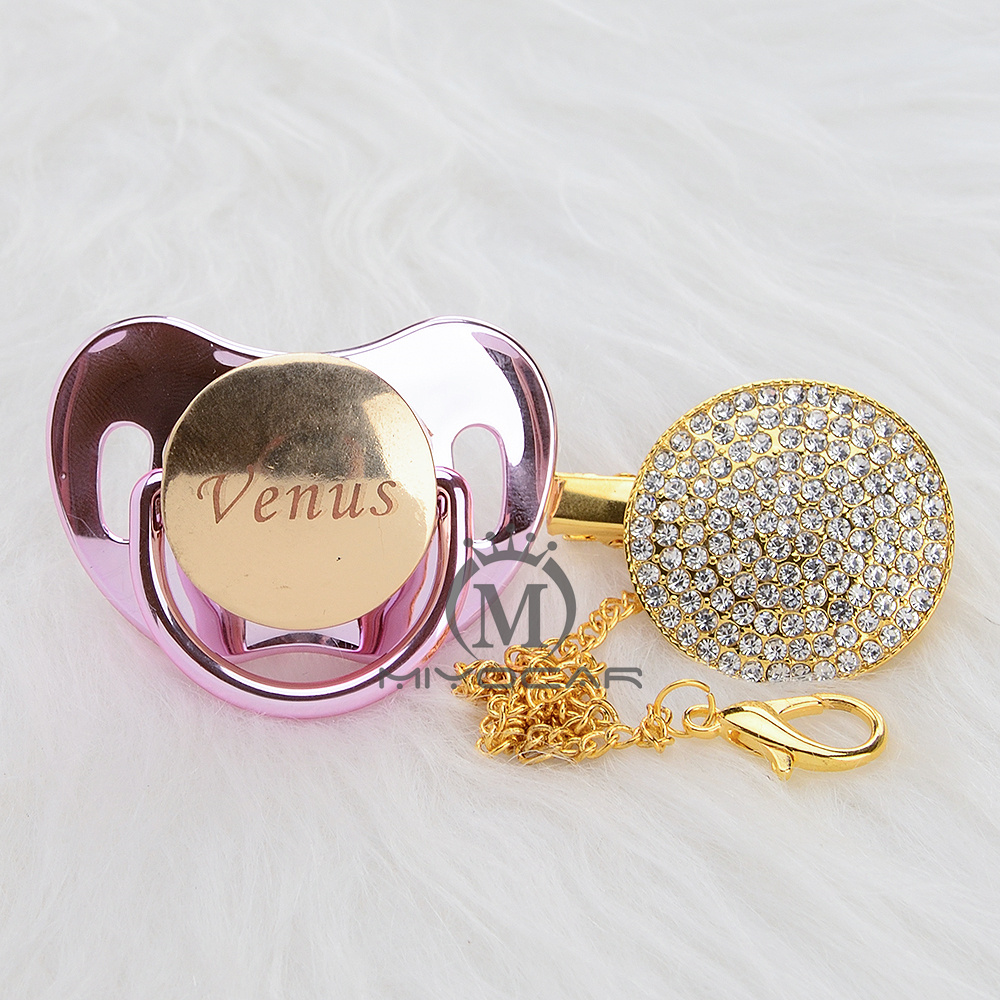 Image 5 - MIYOCAR Personalized any name can make all gold bling pacifier and pacifier clip BPA free dummy bling unique design PBPacifier   -
