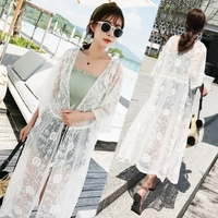 2018 Women Summer Style Casual Lace Crochet Cardigan Kimono Tops Bohemia Half Sleeve Beach Bikini Cover Up Blusas F395