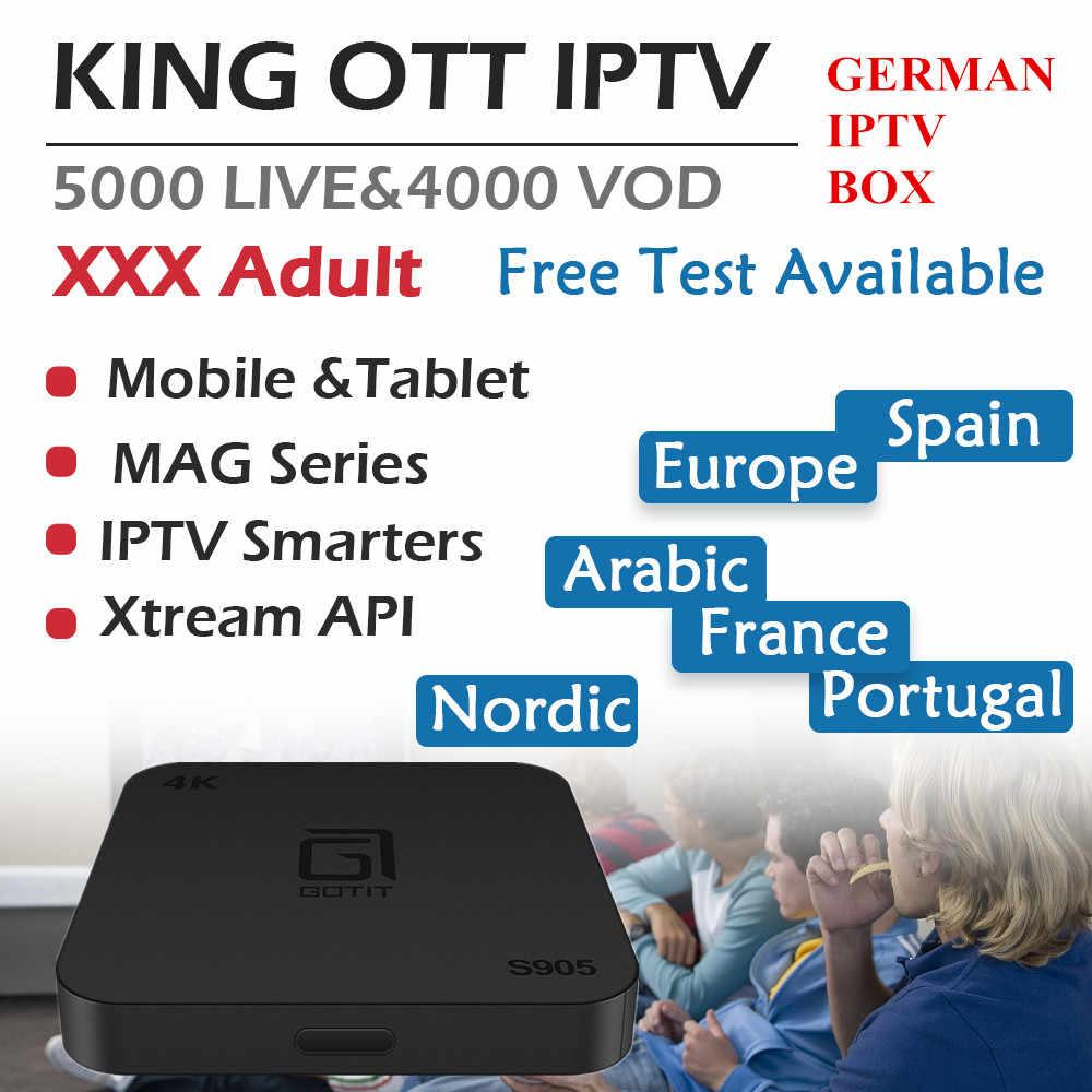 S905 1G8G 2G16G немецкий Испания Швеция Великобритания король французский Отт IP ТВ подписка 5000 live 4000 vod Amlogic S905W Android Smart tv Box