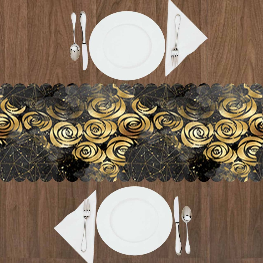 Else Black Clouds Golden Yellow Roses Flowers Floral 3d Print Pattern Modern Table Runner For Kitchen Dining Room Tablecloth