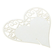 50 PCs Laser Cut Paperboard Heart Shape Card For Table Decal